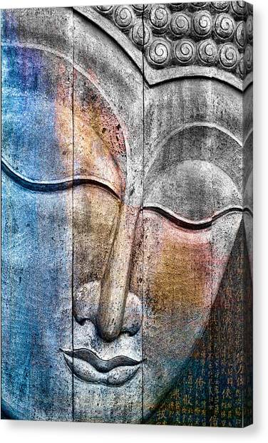 Statue Canvas Print - Wooden Buddha by Carol Leigh