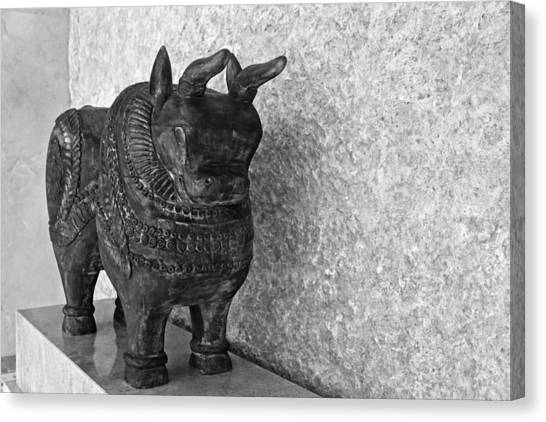 Mango Tree Canvas Print - Wooden Hand Carved Ornamental Bull by Kantilal Patel
