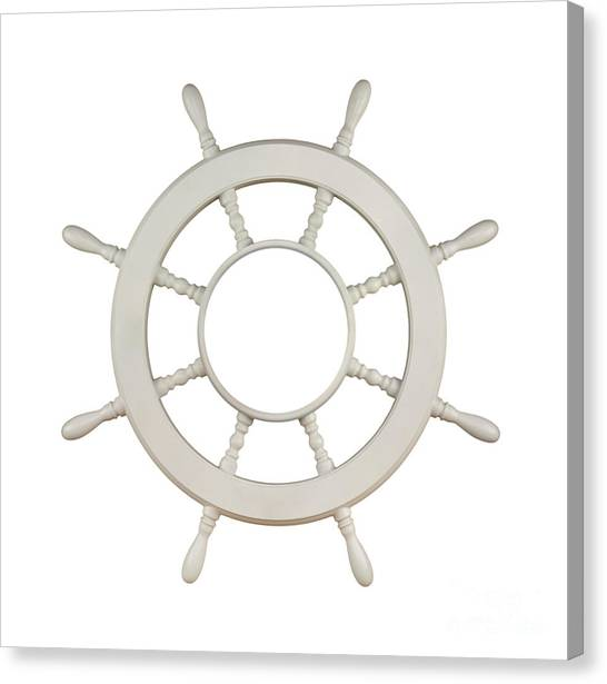Navy Canvas Print - Wooden Sail Boat Wheel by Blink Images