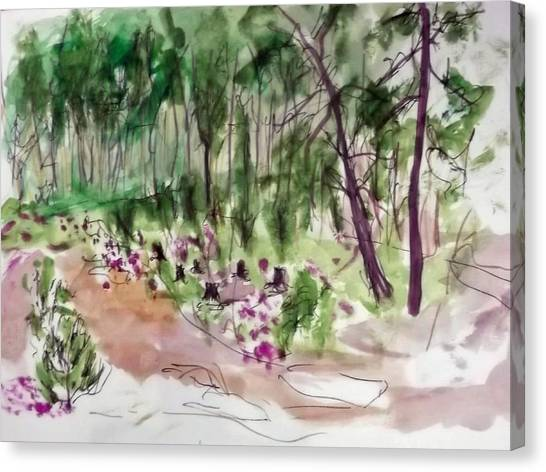 Woods Sketch Canvas Print by Peter Edward Green