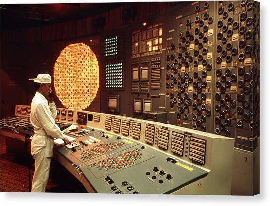 Nuclear Plants Canvas Print - Worker In A Control Room Of Nuclear Power Station by Ria Novosti
