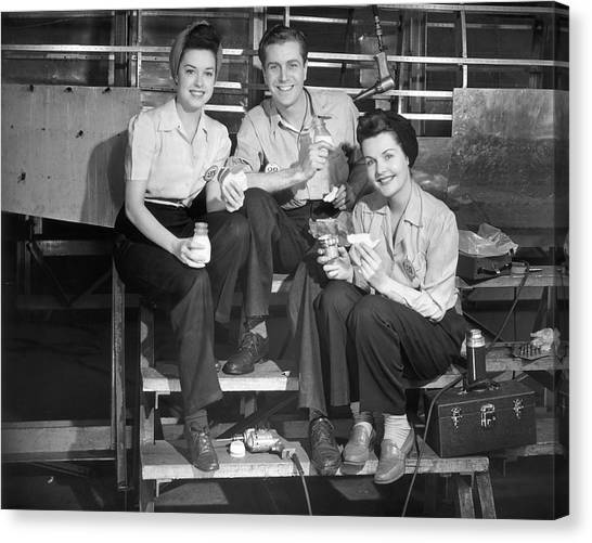 Workers On Lunch Break Canvas Print by George Marks