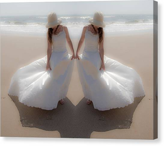 Wedding Gown Canvas Print - Working With The Wind by Betsy Knapp
