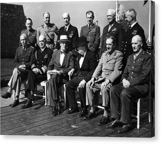 Franklin D. Roosevelt Canvas Print - World War II. Seated, From Left George by Everett