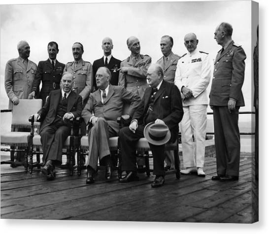 Franklin D. Roosevelt Canvas Print - World War II. Seated, From Left W.l by Everett