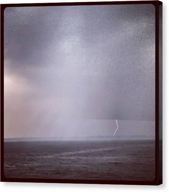 Lightning Canvas Print - Wow! ...caught A Piece Of This With My by Louis Bruno