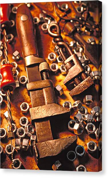 Wrenches Canvas Print - Wrench Tools And Nuts by Garry Gay