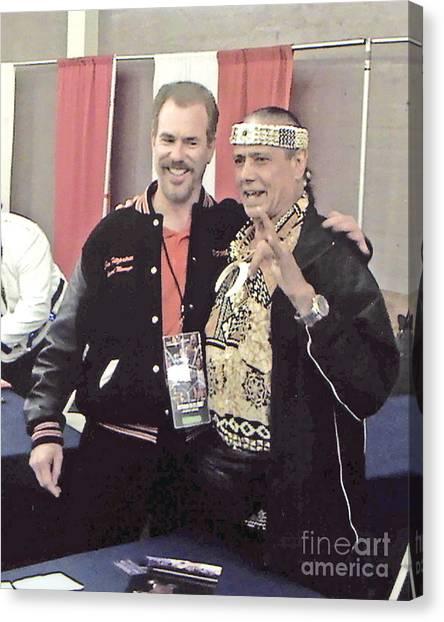 Hulk Hogan Canvas Print - Wrestling Legend Jimmy Superfly Snuka And Myself by Jim Fitzpatrick