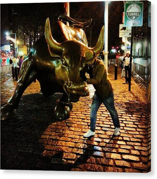 Wrestling Canvas Print - #wrestling The #bull! #nystockexchange by Om Bhatia