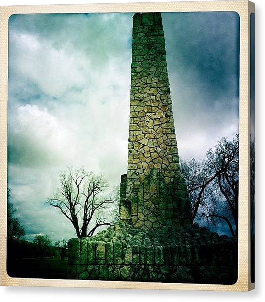 Bases Canvas Print - Wwi Monument At Fort Riley Ks by Cody Barnhart