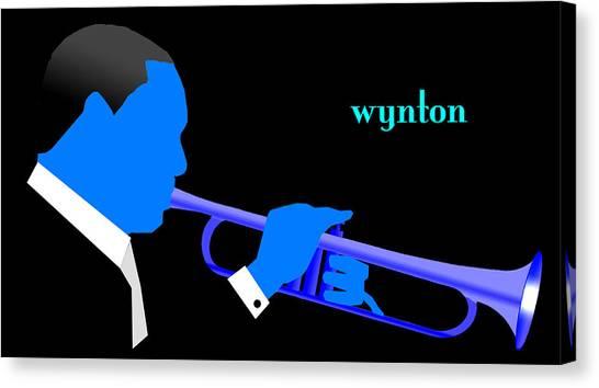 Wynton Marsalis Blue Canvas Print by Victor Bailey