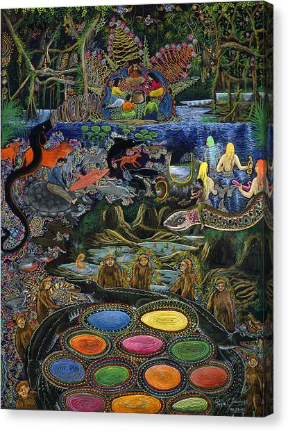 Canvas Print featuring the painting Yacuruna Huasi by Pablo Amaringo