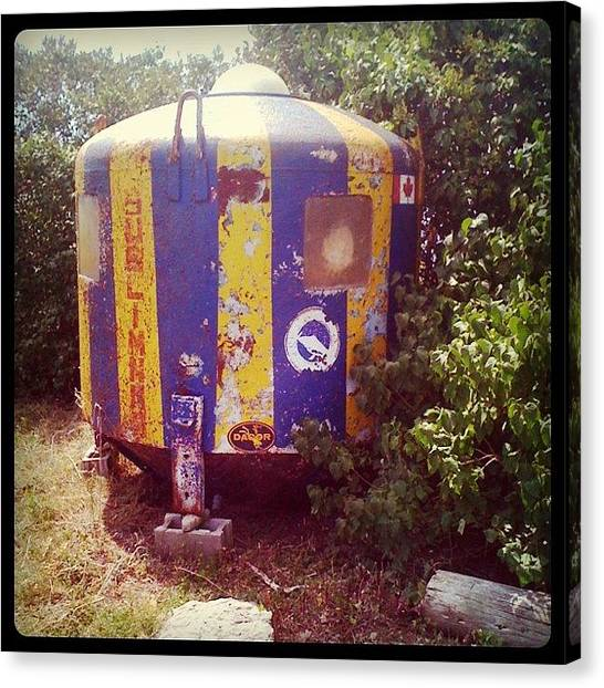 Submarine Canvas Print - Yellow And Blue Submarine by Kathryn Dickson