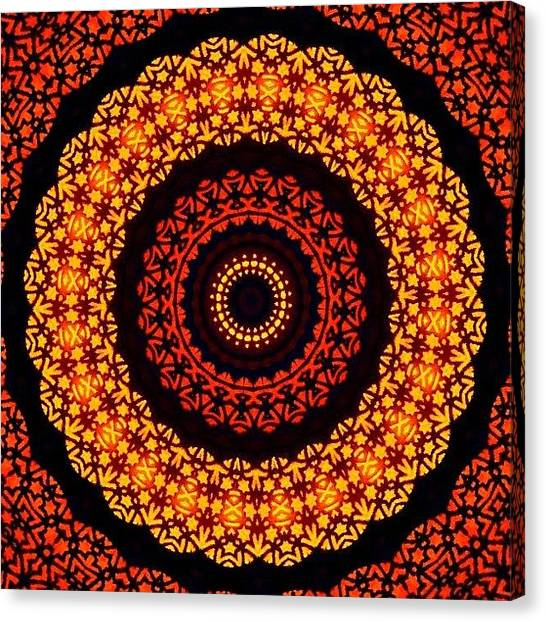 Mandala Canvas Print - #yellow And #orange #fractalart On by Pixie Copley