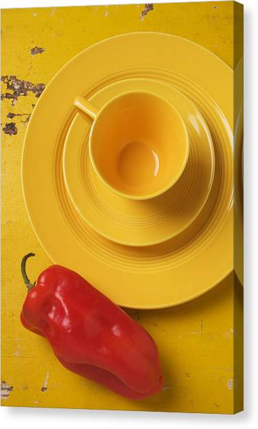 Saucer Canvas Print - Yellow Cup And Plate by Garry Gay
