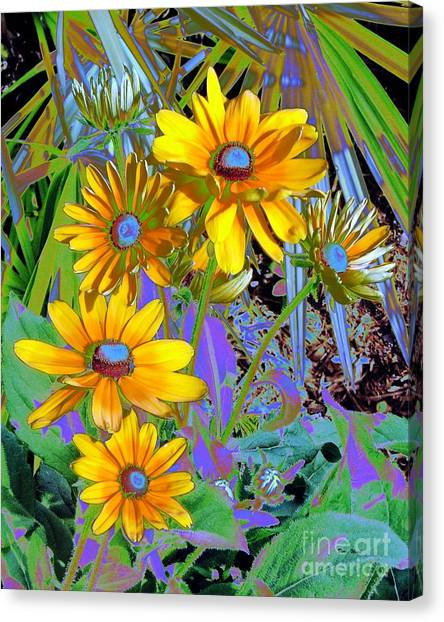 Yellow Daisies Canvas Print by Doris Wood