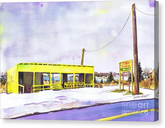 Yellow Farm Stand Winter Orient Harbor Ny Canvas Print