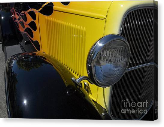 Yellow Flame Vintage Car Canvas Print