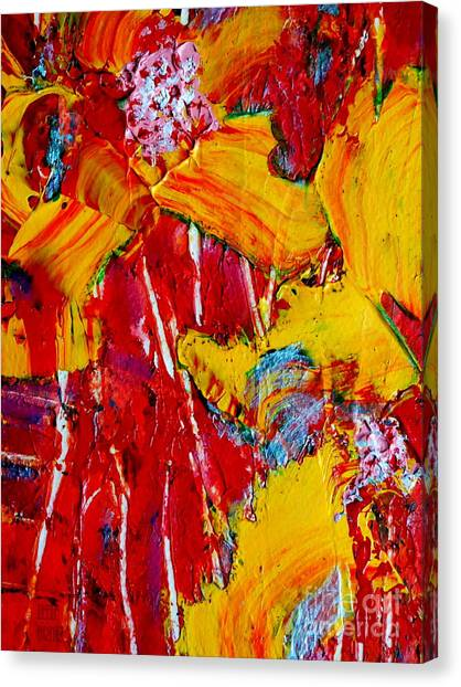 Yellow Flowers On Red Canvas Print