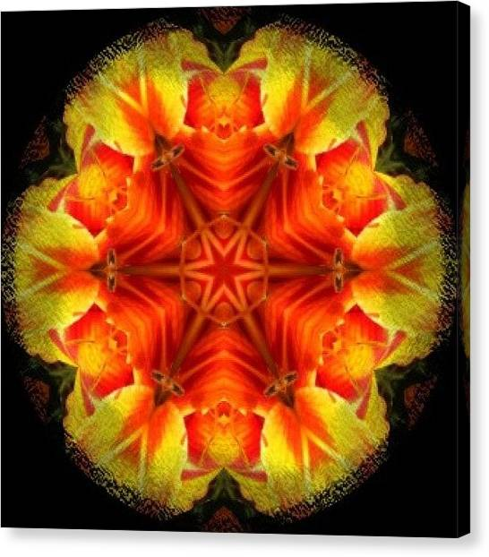 Mandala Canvas Print - #yellow #orange And #red #star #fractal by Pixie Copley