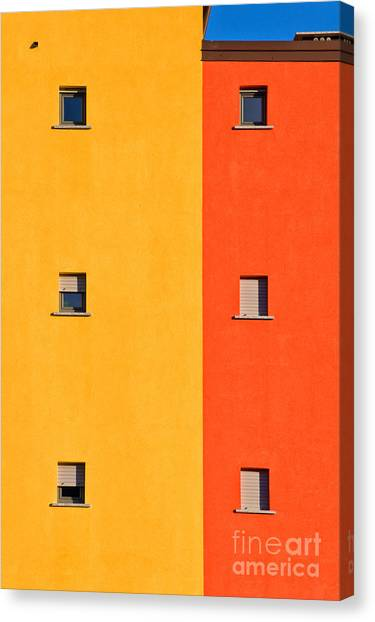 Colorful Canvas Print - Yellow Orange Blue With Windows by Silvia Ganora