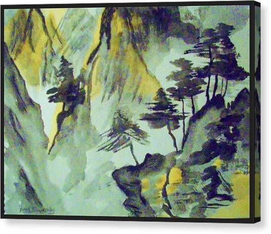 Yellow Orient Mountains Canvas Print by Peggy Leyva Conley