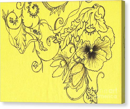 Yellow Pansy And Ladybug Canvas Print