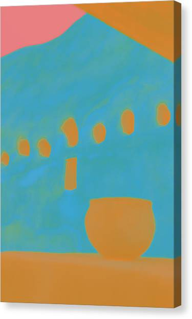 Clay Canvas Print - Yellow Pot by Carol Leigh