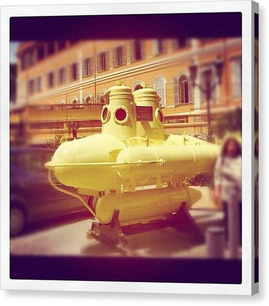 Submarine Canvas Print - #yellow #submarine #cousteau #monaco by Andrea Romero