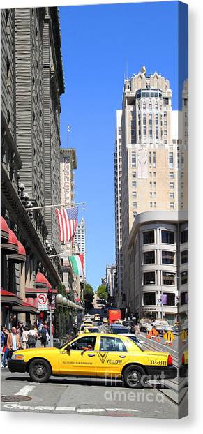 Yellow Taxicab Crossing Powell Street In San Francisco . 7d7259 Canvas Print by Wingsdomain Art and Photography
