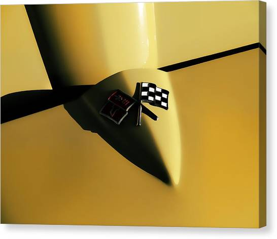 Chevrolet Corvette Canvas Print - Yellow Vette Badge by Douglas Pittman