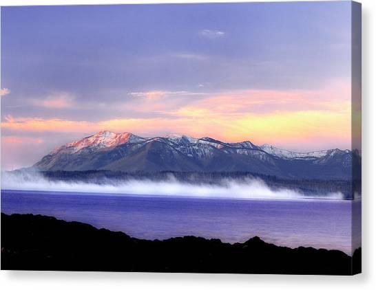 Yellowstone Lake Sunrise Canvas Print by Tony Gayhart