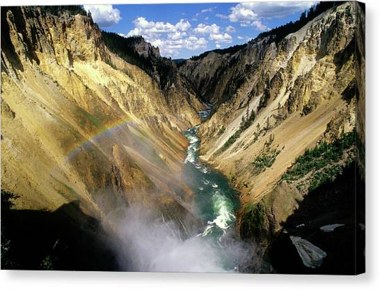 Yellowstone River Over The Falls Canvas Print