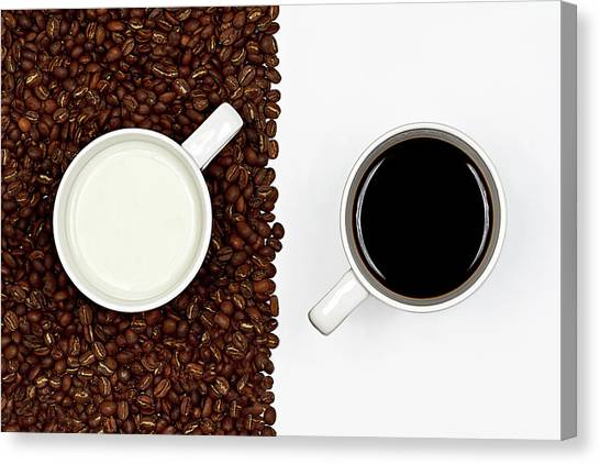 Coffee Canvas Print - Yin And Yang Coffee And Milk by Gert Lavsen Photography