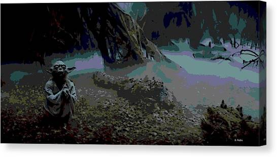 R2-d2 Canvas Print - Yoda In Meditation by George Pedro
