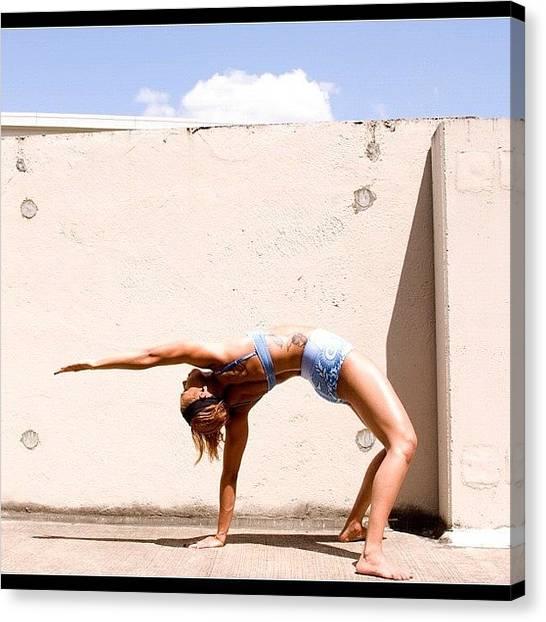 Vegetarian Canvas Print - Yoga Two #namaste #flexible #body by Alexis Johnson