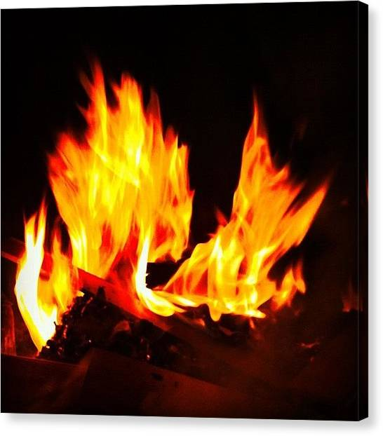 Flames Canvas Print - You People Have Yourselves A Great by Graham Bernauer