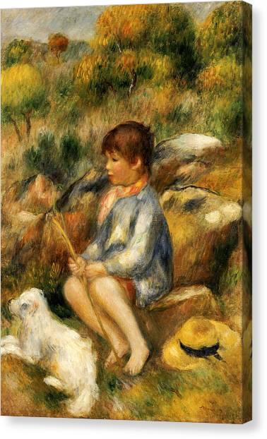 Pierre-auguste Renoir Canvas Print - Young Boy By A Brook by Pierre Auguste Renoir