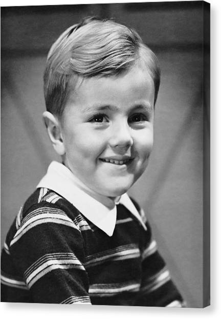 Young Boy Smiling Canvas Print by George Marks