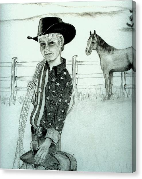 Young Cowboy Canvas Print by Carolyn Ardolino