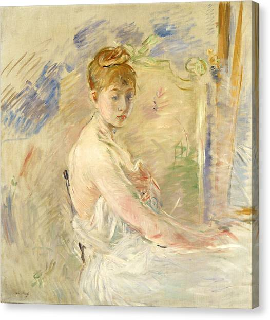 Bare Shoulder Canvas Print - Young Girl Getting Up by Berthe Morisot
