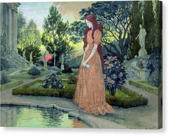 Girl In Landscape Canvas Print - Young Girl In A Garden  by Eugene Grasset