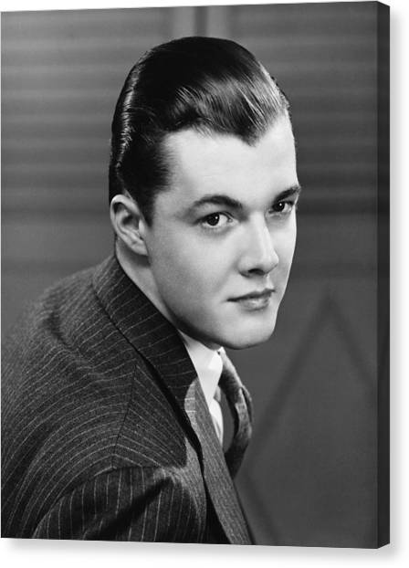 Young Man Wearing Pinstripe Jacket, (b&w), Portrait Canvas Print by George Marks