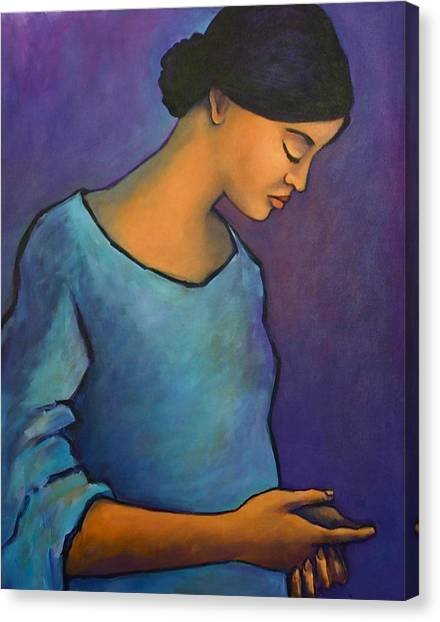Young Mexican Girl In Blue Canvas Print
