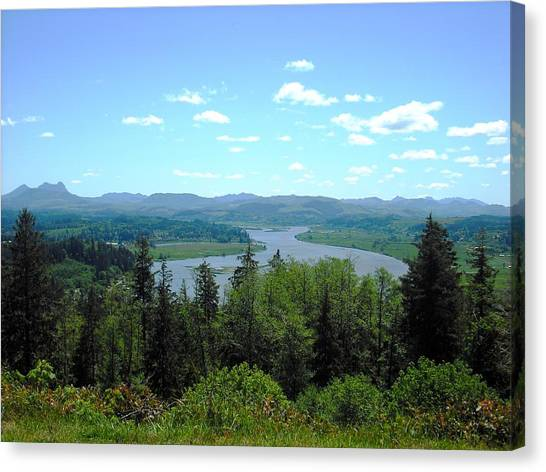 Youngs River And Saddle Mountain Canvas Print
