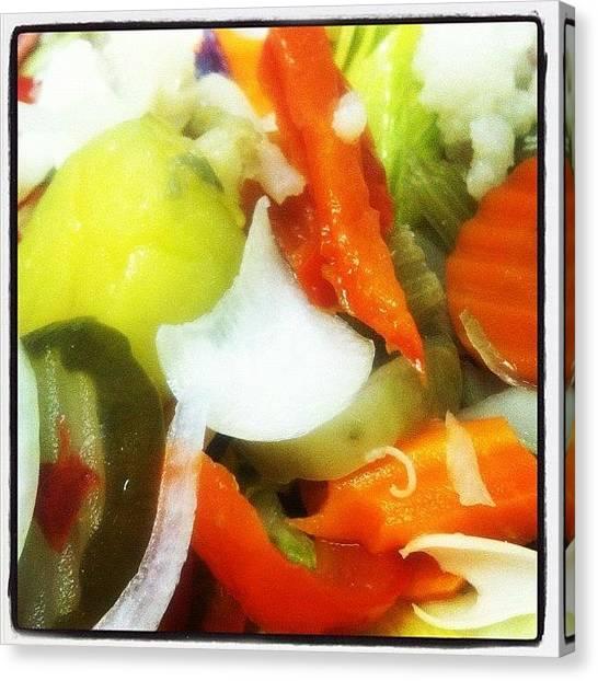 Salad Canvas Print - Yummy Veggies by Vivian Richardson