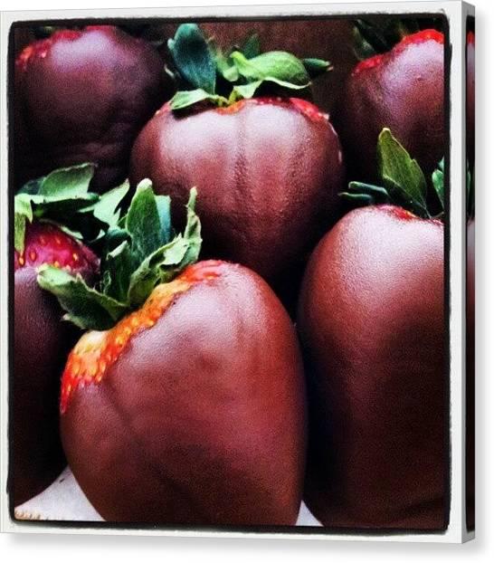 Strawberries Canvas Print - Yuupiii Me Regalaron Fresas Con by Tania Torres