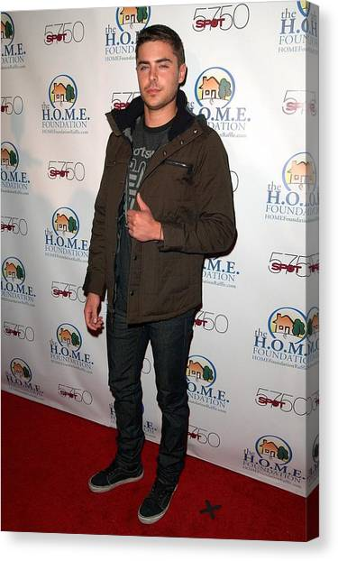Zac Efron In Attendance For Stiks Canvas Print by Everett