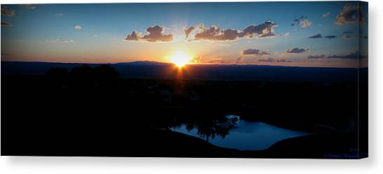 Zia Sun Over Tanoan Canvas Print by Aaron Burrows