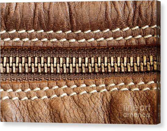 Zipper And Leather Detail Canvas Print by Blink Images